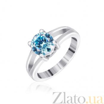 Серебряное кольцо Мелита с фианитом цвета голубого топаза 000025461