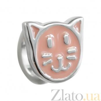 Серебряный шарм Китти с эмалью 3Н203-0425