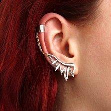 Серебряные асимметричные серьги-каффы Крылья с фианитами