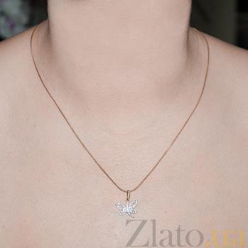 Золотой кулон с цирконием Стрекоза LEL-62283
