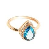 Золотое кольцо Осанна в красном цвете с лондон топазом и фианитами