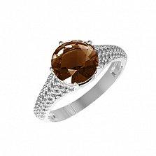 Серебряное кольцо Эмили с раухтопазом и фианитами