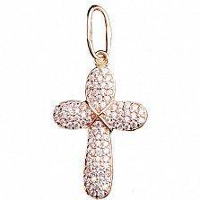 Золотой крестик Благовест с цирконием