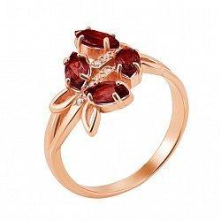 Золотое кольцо Милые стрекозы в красном цвете с гранатом и фианитами