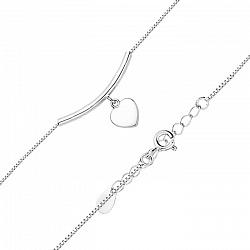 Серебряный браслет с подвеской-сердечком в венецианском плетении 000131570