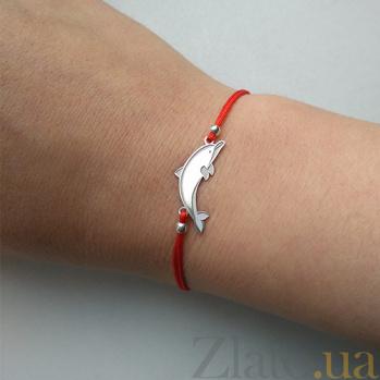 Шелковый браслет со вставкой Дельфин 000031139