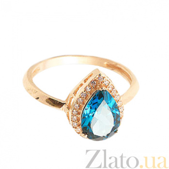 Золотое кольцо Осанна в красном цвете с лондон топазом и фианитами 000045785