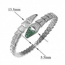 Серебряный браслет Змейка с зелеными и белыми фианитами