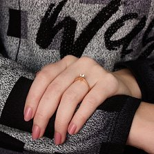 Золотое кольцо с кристаллом Swarovski Ненаглядная