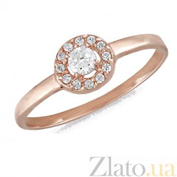 Кольцо в красном золоте Алира с фианитами 000022897