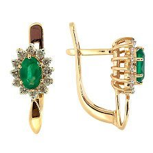 Серьги из красного золота с изумрудами и бриллиантами Малинки
