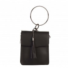 Кожаный клатч Genuine Leather 1624 черного цвета с круглой металлической ручкой