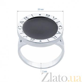 Серебряное кольцо с ониксом Итальянская мода AQA--1635э