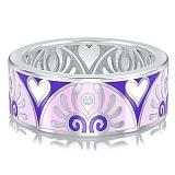Обручальное кольцо из белого золота с эмалью и бриллиантами Талисман: Души