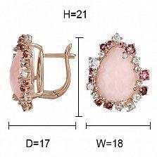 Золотые серьги с ониксом, бриллиантами, розовыми кварцами и турмалинами Мечтательница
