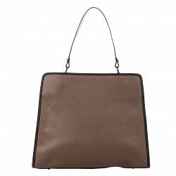Кожаная деловая сумка Genuine Leather 8877 цвета тауп на молнии, с металлическими ножками