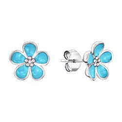 Серебряные серьги-пуссеты с голубой эмалью 000132736