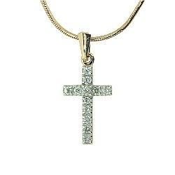 Золотой декоративный крестик с бриллиантами 000021694