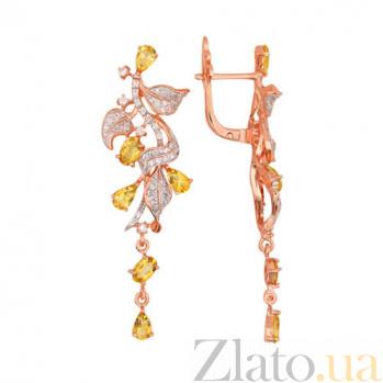 Серьги Орнелла в красном золоте с лимонными цирконами VLT--ТТТ2454-2