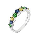 Золотое кольцо с сапфирами, цаворитами и бриллиантами Бразилия