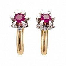 Золотые серьги с бриллиантами и рубинами Дамиана