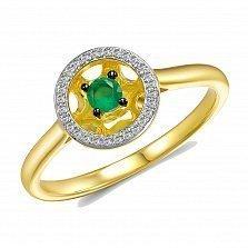Кольцо Эрна из золота с бриллиантами и изумрудом