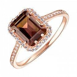 Кольцо из красного золота с раухтопазом и фианитами 000135611