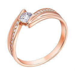 Кольцо из красного золота с фианитами 000106477