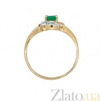 Золотое кольцо в красном цвете с изумрудом и бриллиантами Новия ZMX--RE-621_K