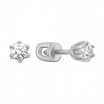 Серебряные серьги-пуссеты с фианитами 000122499