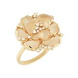 Золотое кольцо с горным хрусталем и бриллиантами Мирабелла