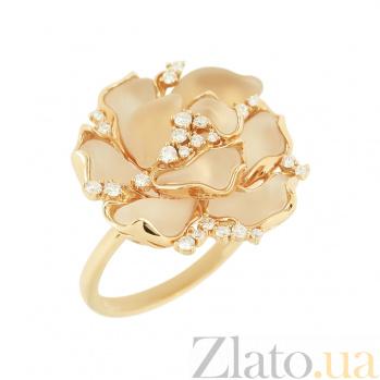 Золотое кольцо с горным хрусталем и бриллиантами Мирабелла 1К037-0133