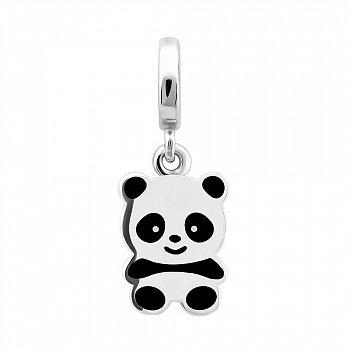 Срібна підвіска Панда з білою, чорною емаллю та родієм 000100102