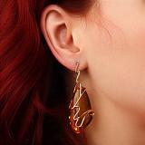 Эксклюзивные золотые серьги Символ солнца с натуральным янтарём
