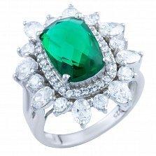 Серебряное кольцо Нинон с синтезированным изумрудом и фианитами