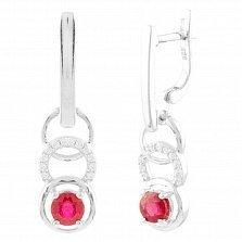 Серебряные серьги-подвески Долорес с рубином и фианитами