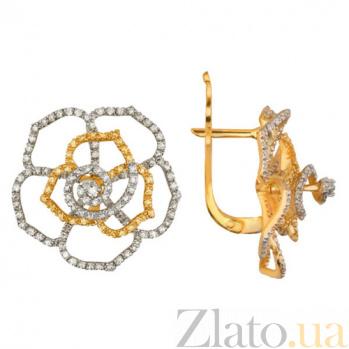 Золотые серьги с белым и желтым цирконием Пион VLT--ТТТ2252