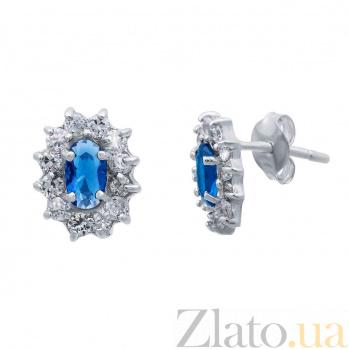 Серьги пусеты серебряные с синим цирконием Малинки AQA--S228550234-S