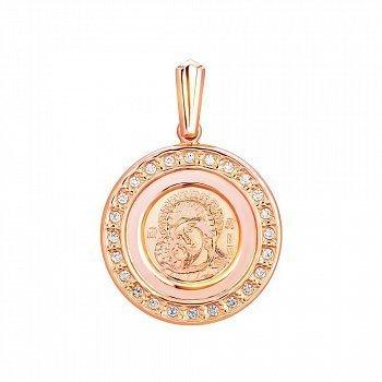 Ладанка из красного золота с фианитами 000130758