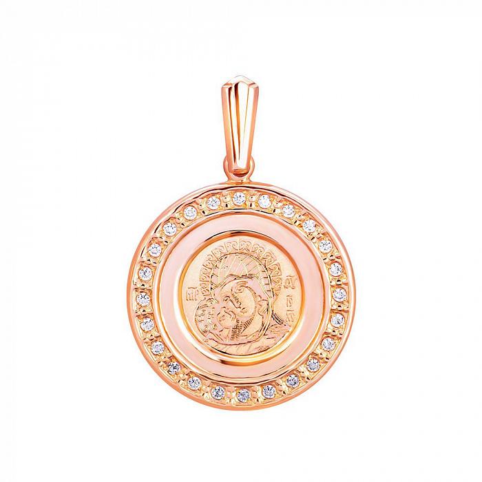 Ладанка из красного золота с фианитами 000130758 000130758