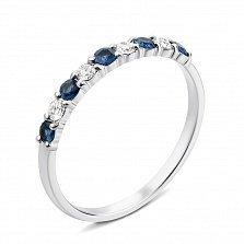 Кольцо из белого золота с сапфирами и бриллиантами с родированием 000127112