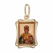 Золотая ладанка Св. Николай Чудотворец с эмалью