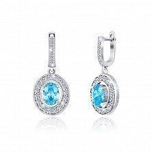 Серебряные серьги-подвески с голубыми фианитами Маргарет