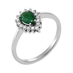 Кольцо из белого золота с изумрудом и бриллиантами 000131170
