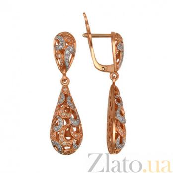 Серьги-подвески из красного золота с цирконием Амели VLT--Т270-4