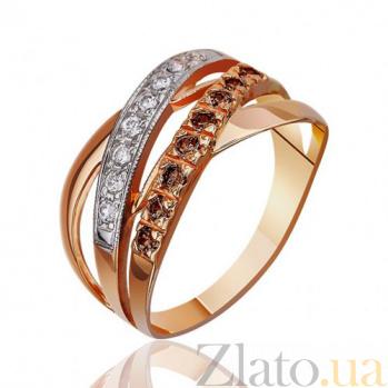 Кольцо Золотые плетения с фианитами белого и коньячного цвета EDM--КД020К