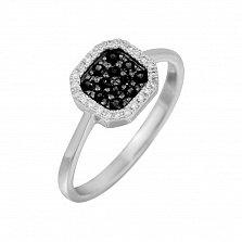 Золотое кольцо с черными бриллиантами Ночное небо