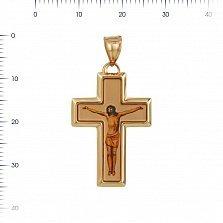 Крестик из красного золота Сын Божий с эмалью