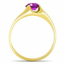 Золотое кольцо Глаз дракона в желтом цвете с синтезированным аметистом