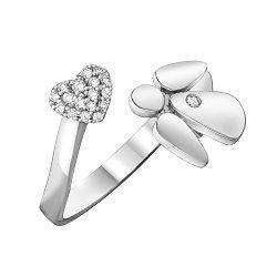 Разомкнутое кольцо в белом золоте Мой ангел с бриллиантами